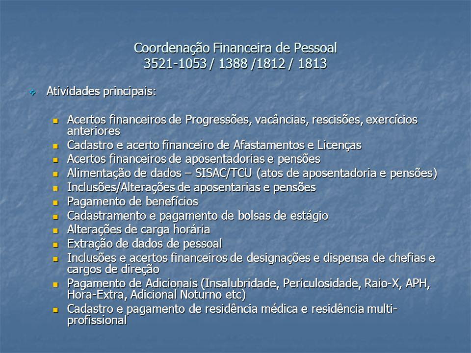 Coordenação Financeira de Pessoal 3521-1053 / 1388 /1812 / 1813