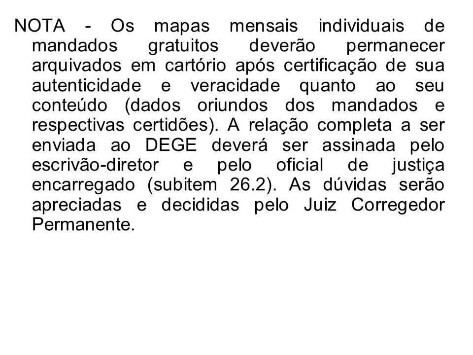 NOTA - Os mapas mensais individuais de mandados gratuitos deverão permanecer arquivados em cartório após certificação de sua autenticidade e veracidade quanto ao seu conteúdo (dados oriundos dos mandados e respectivas certidões).