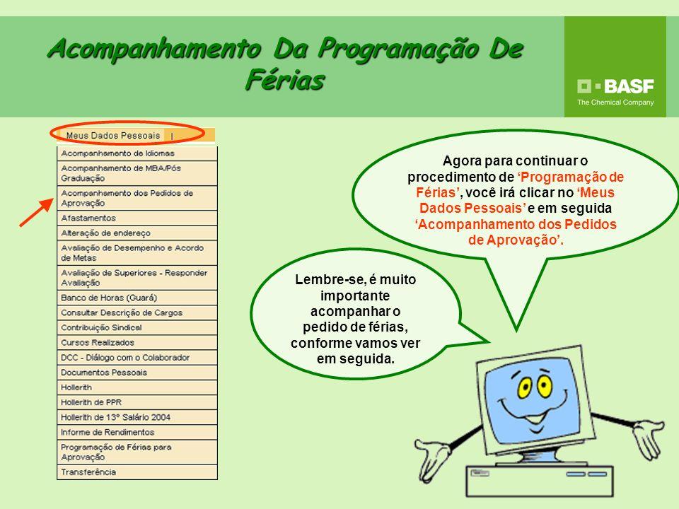 Acompanhamento Da Programação De Férias