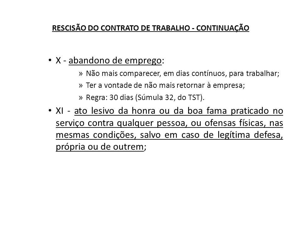 RESCISÃO DO CONTRATO DE TRABALHO - CONTINUAÇÃO