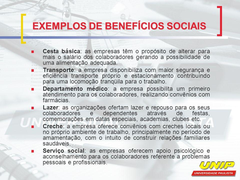 EXEMPLOS DE BENEFÍCIOS SOCIAIS