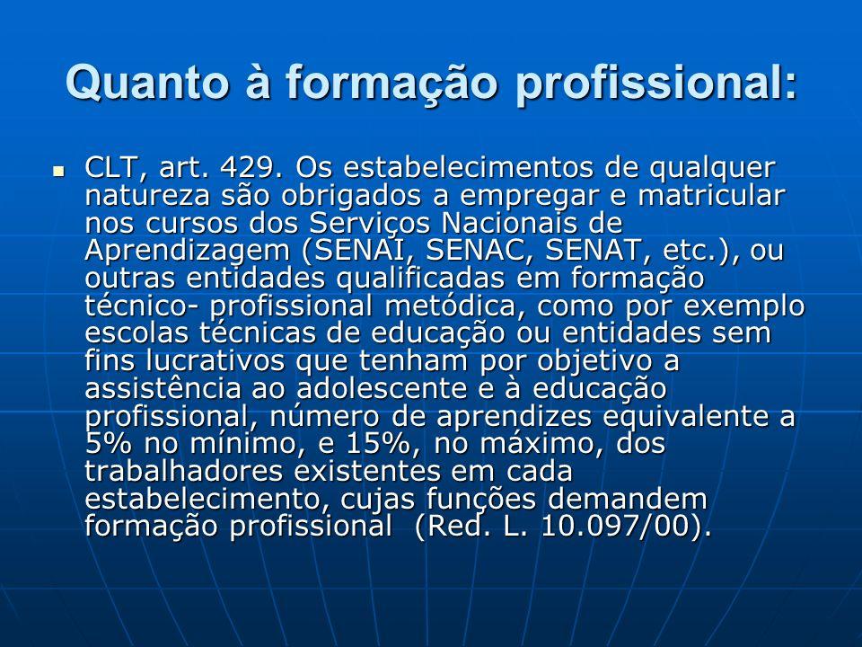 Quanto à formação profissional: