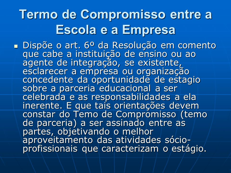 Termo de Compromisso entre a Escola e a Empresa