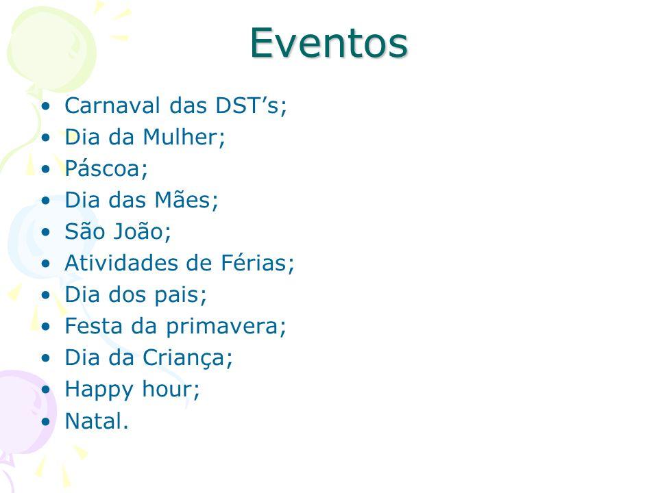 Eventos Carnaval das DST's; Dia da Mulher; Páscoa; Dia das Mães;