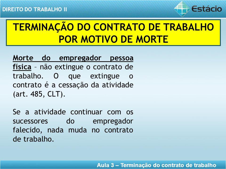 TERMINAÇÃO DO CONTRATO DE TRABALHO POR MOTIVO DE MORTE
