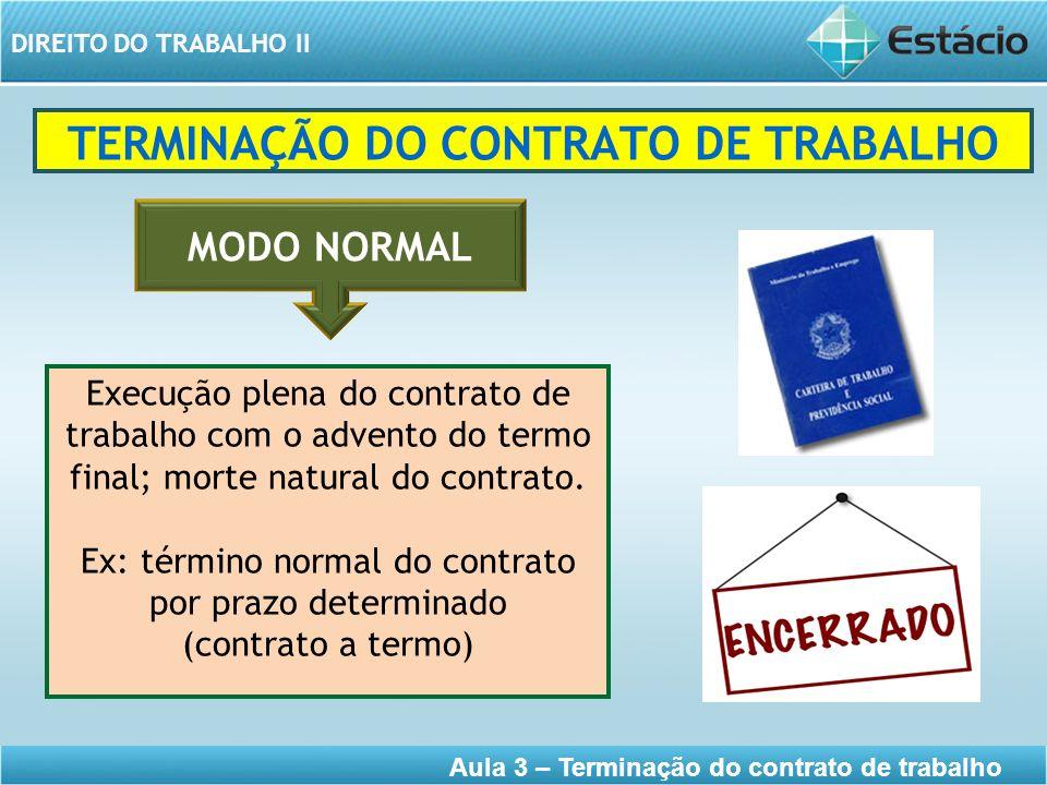 TERMINAÇÃO DO CONTRATO DE TRABALHO