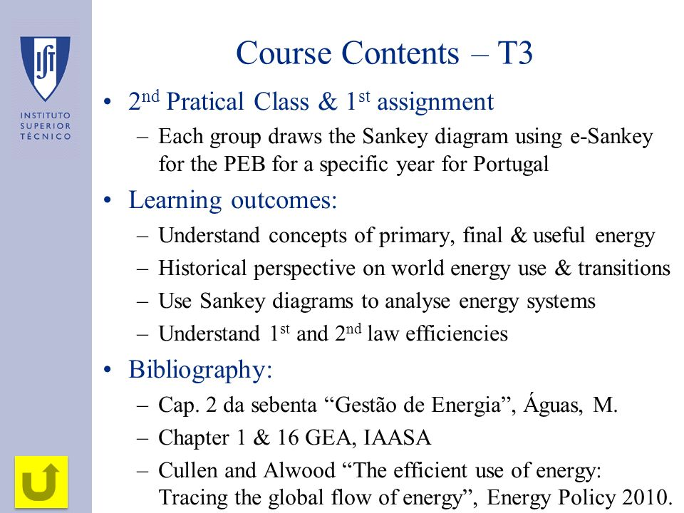 Course Contents – T3 2nd Pratical Class & 1st assignment