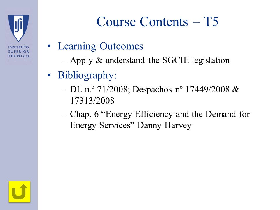 Course Contents – T5 Learning Outcomes Bibliography: