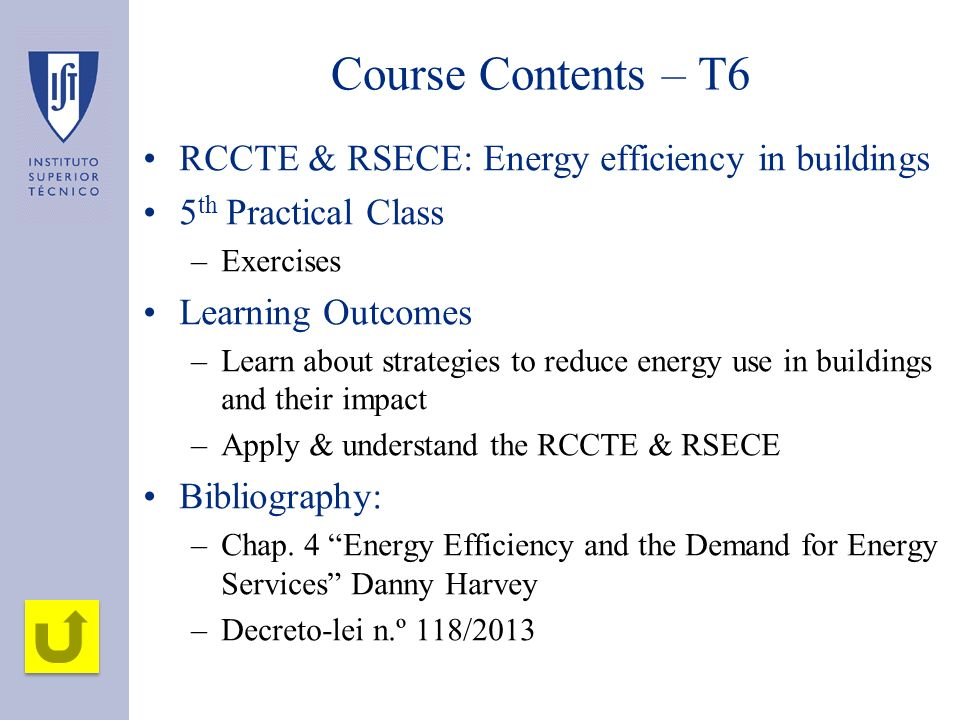 Course Contents – T6 RCCTE & RSECE: Energy efficiency in buildings