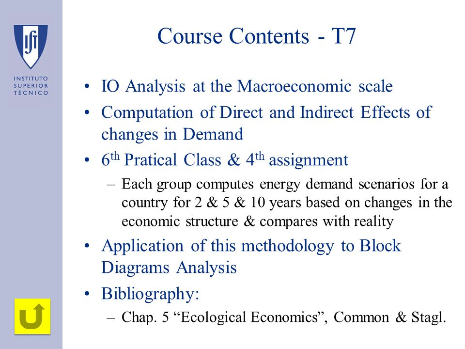 Course Contents - T7 IO Analysis at the Macroeconomic scale