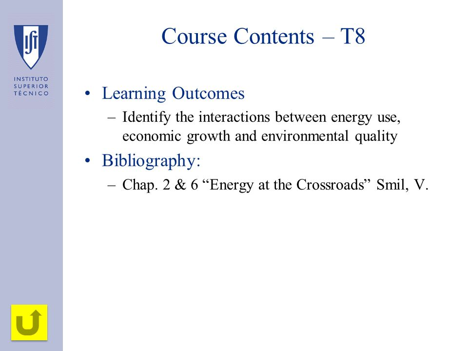 Course Contents – T8 Learning Outcomes Bibliography: