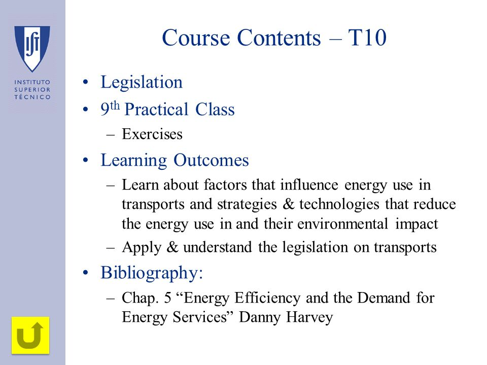 Course Contents – T10 Legislation 9th Practical Class