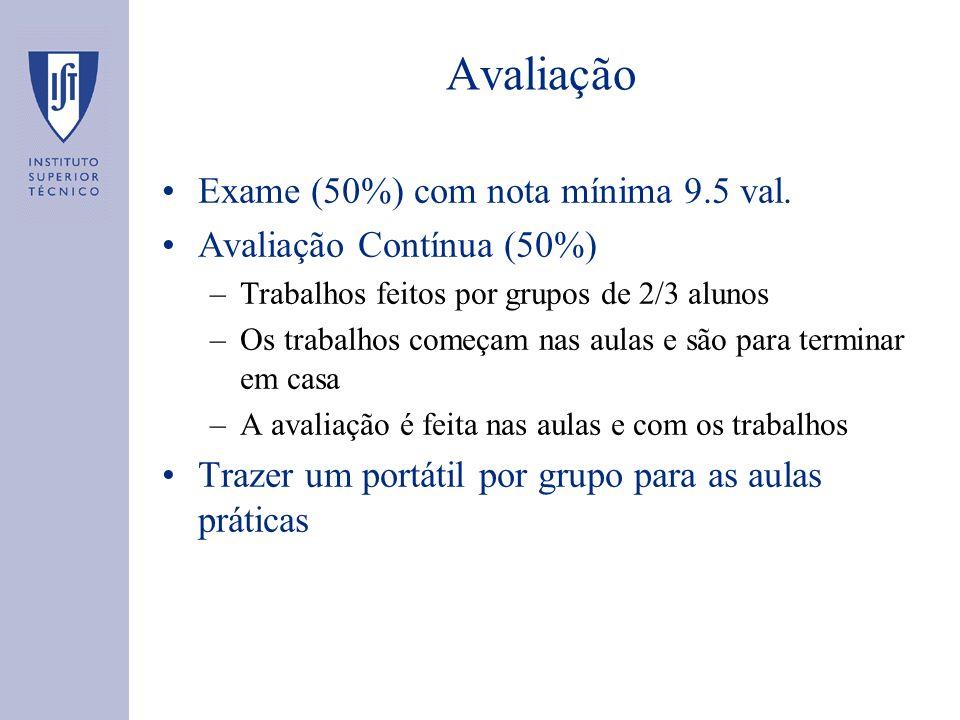 Avaliação Exame (50%) com nota mínima 9.5 val.