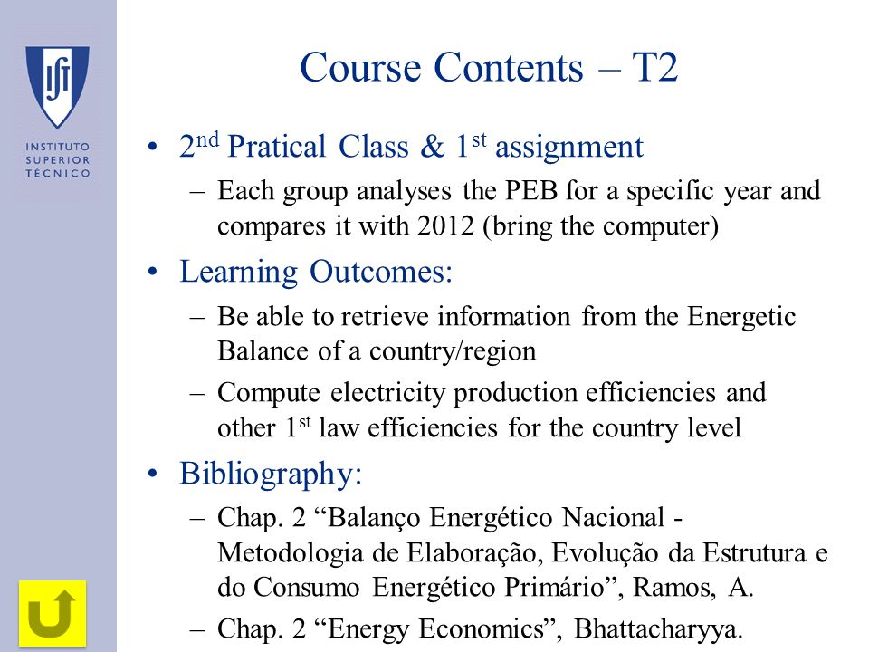Course Contents – T2 2nd Pratical Class & 1st assignment