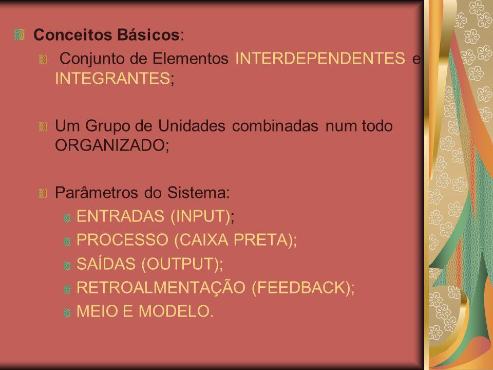 Conceitos Básicos: Conjunto de Elementos INTERDEPENDENTES e INTEGRANTES; Um Grupo de Unidades combinadas num todo ORGANIZADO;