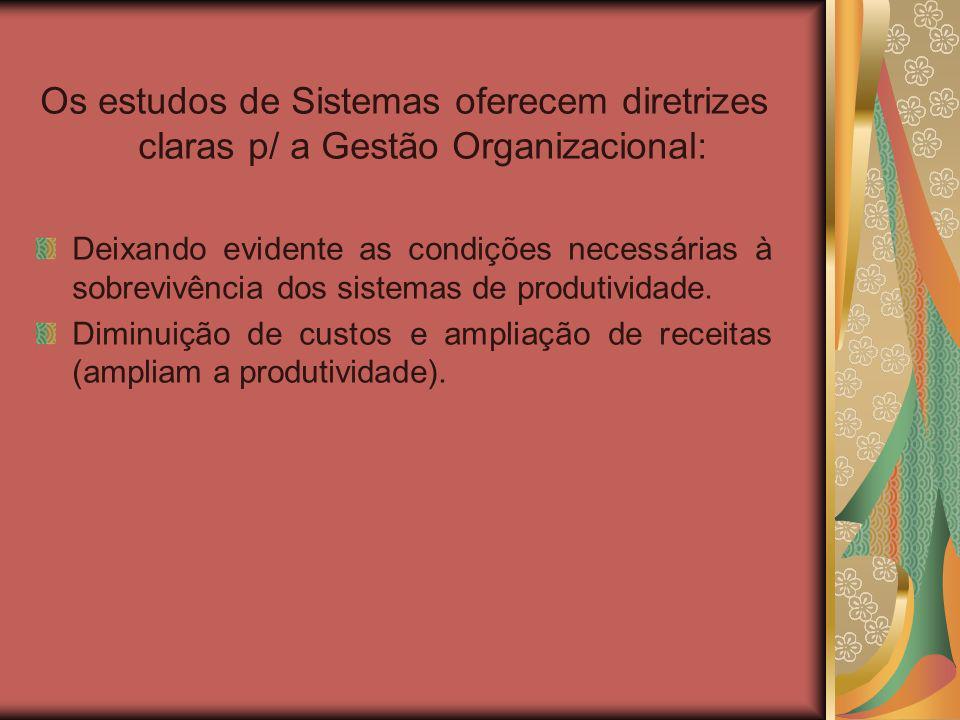 Os estudos de Sistemas oferecem diretrizes claras p/ a Gestão Organizacional: