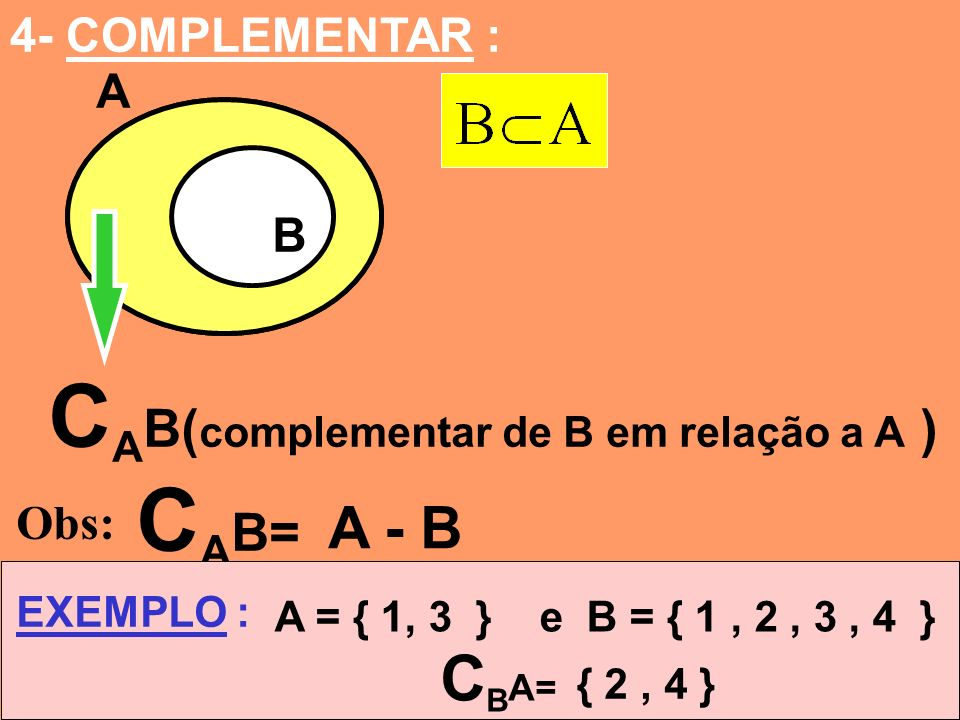 CAB(complementar de B em relação a A ) CAB=