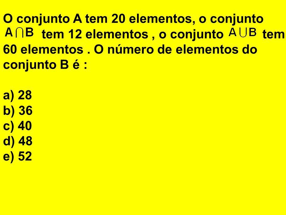 O conjunto A tem 20 elementos, o conjunto