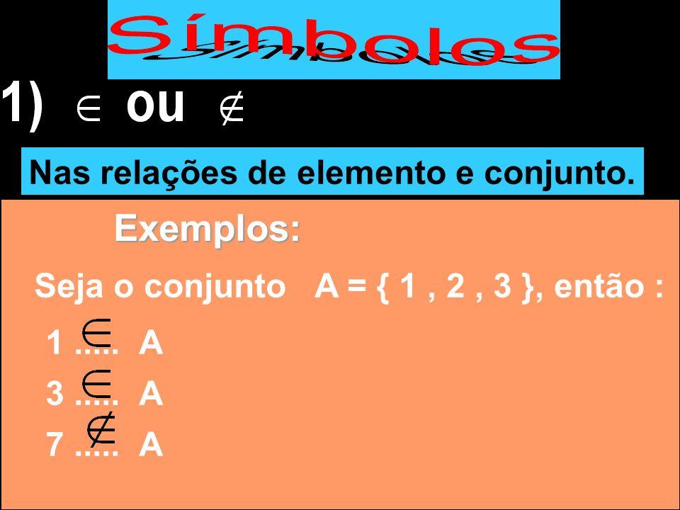 Exemplos: Nas relações de elemento e conjunto.