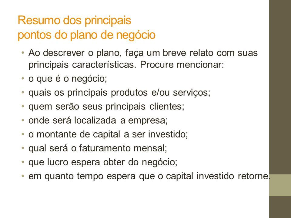 Resumo dos principais pontos do plano de negócio