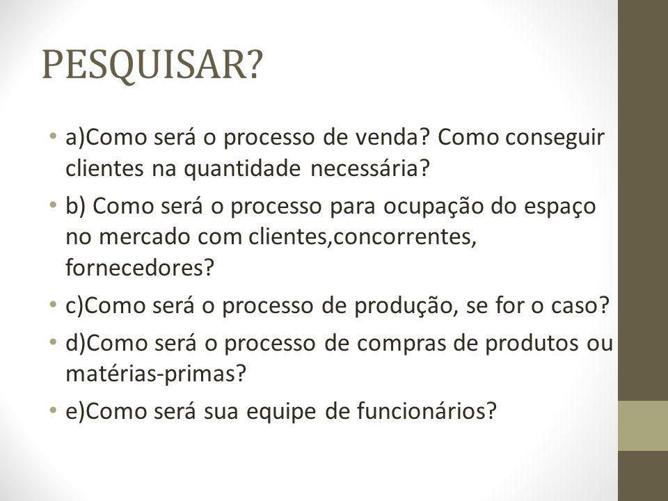PESQUISAR a)Como será o processo de venda Como conseguir clientes na quantidade necessária