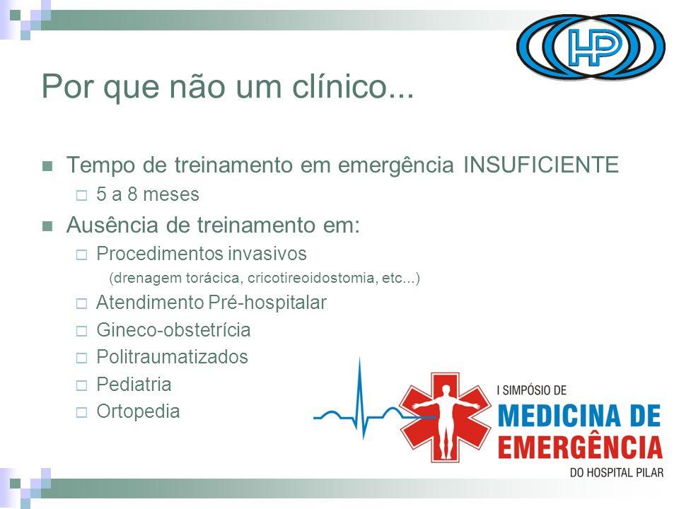 Por que não um clínico... Tempo de treinamento em emergência INSUFICIENTE. 5 a 8 meses. Ausência de treinamento em: