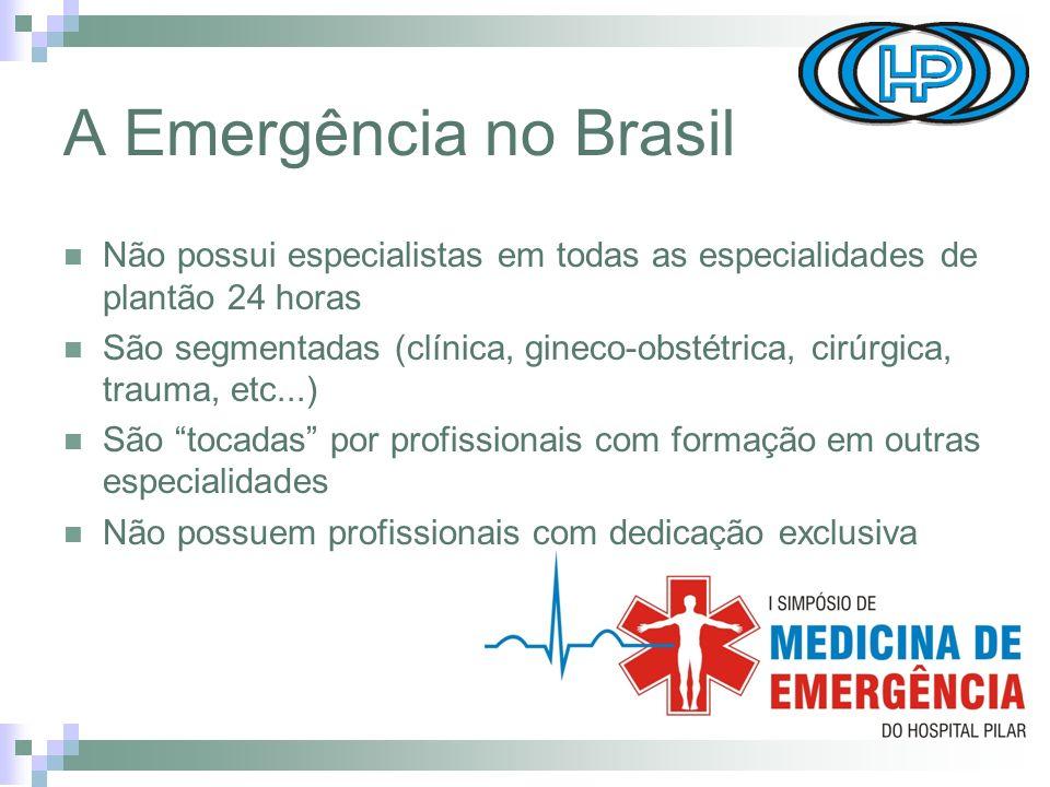 A Emergência no Brasil Não possui especialistas em todas as especialidades de plantão 24 horas.