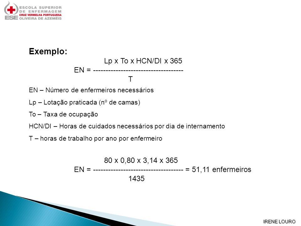 Exemplo: Lp x To x HCN/DI x 365