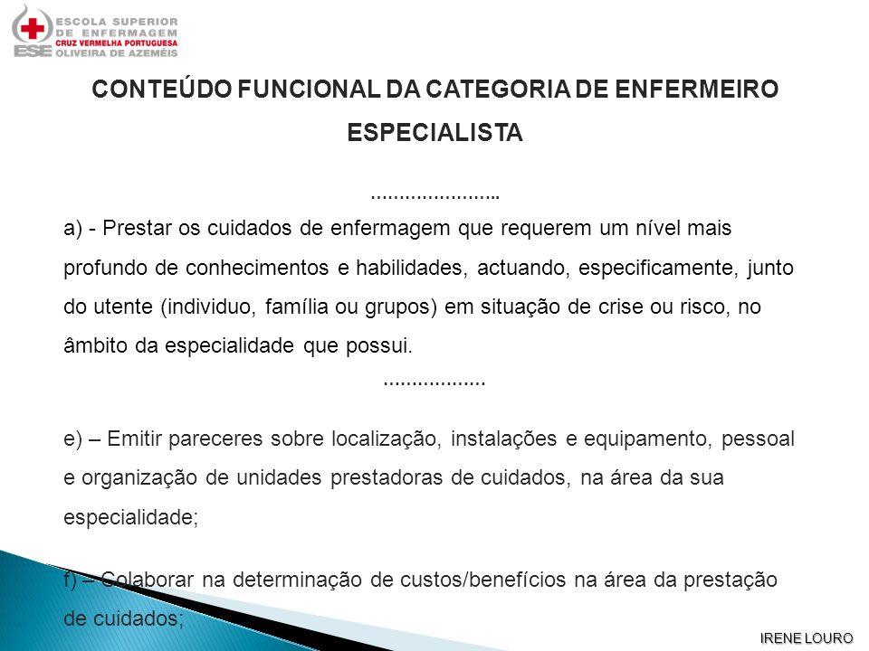 CONTEÚDO FUNCIONAL DA CATEGORIA DE ENFERMEIRO ESPECIALISTA