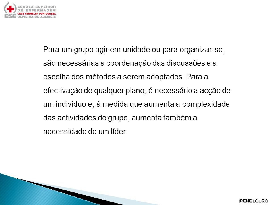 Para um grupo agir em unidade ou para organizar-se, são necessárias a coordenação das discussões e a escolha dos métodos a serem adoptados. Para a efectivação de qualquer plano, é necessário a acção de um individuo e, à medida que aumenta a complexidade das actividades do grupo, aumenta também a necessidade de um líder.