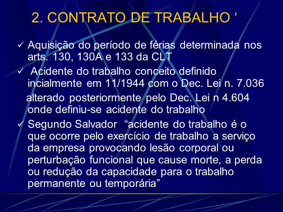 2. CONTRATO DE TRABALHO ' Aquisição do período de férias determinada nos arts. 130, 130A e 133 da CLT.