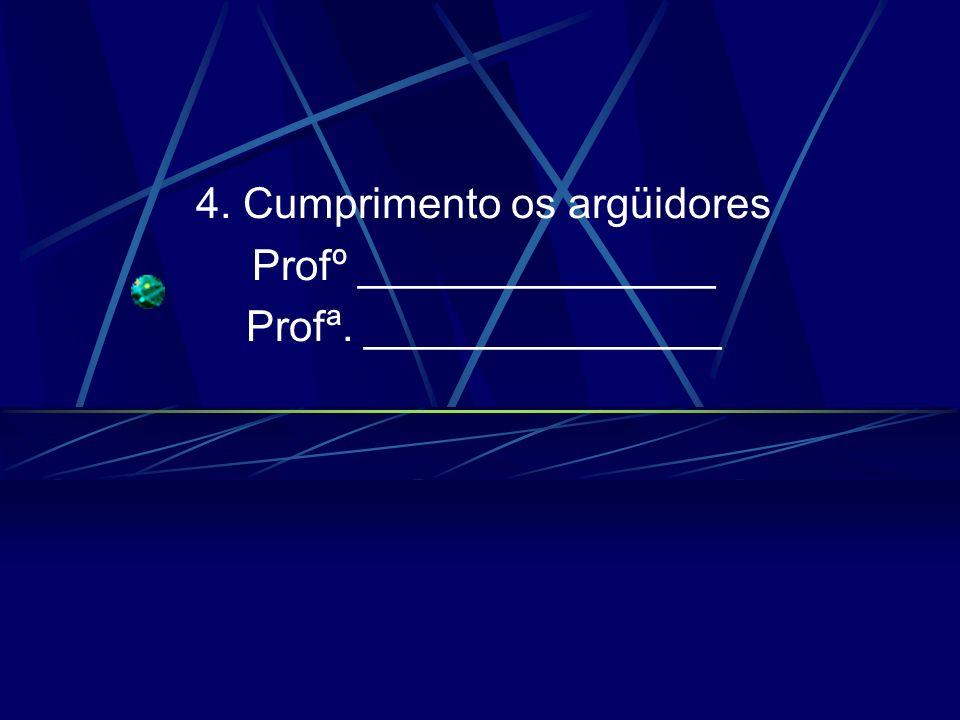 4. Cumprimento os argüidores Profº _______________