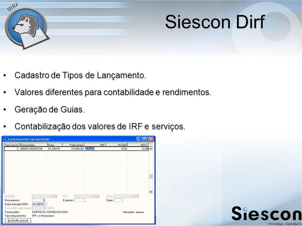Siescon Dirf Cadastro de Tipos de Lançamento.