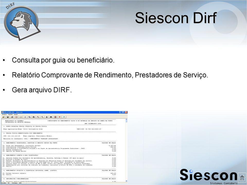 Siescon Dirf Consulta por guia ou beneficiário.