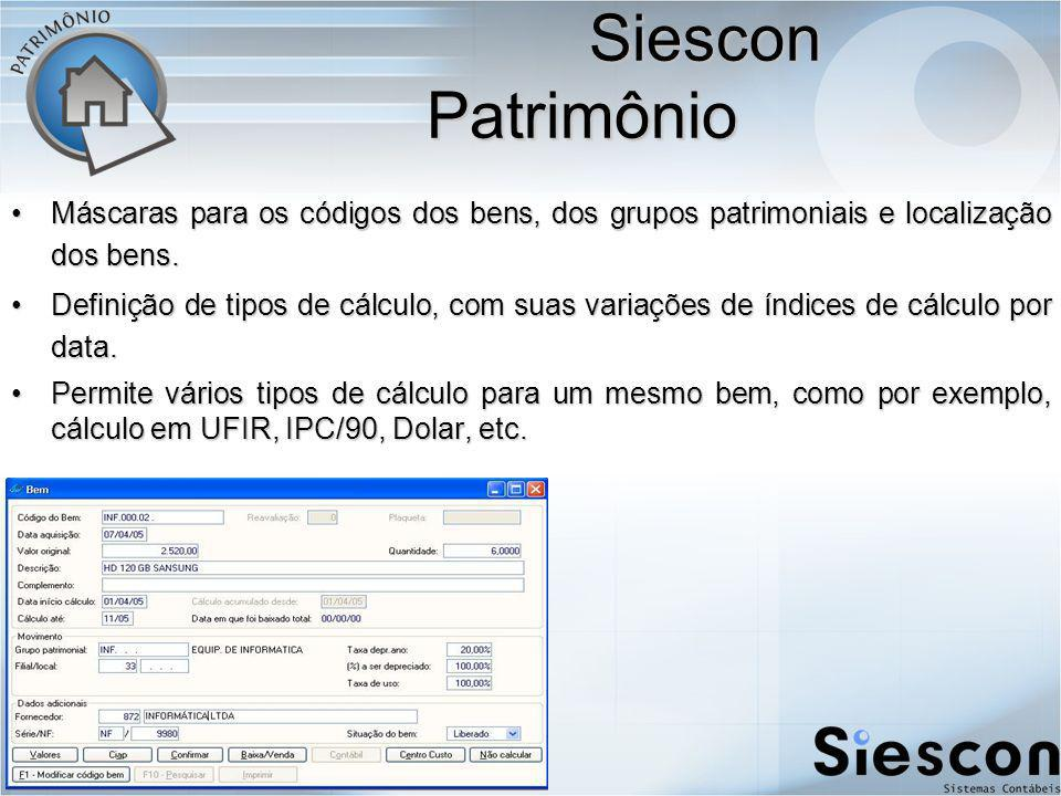 Siescon Patrimônio Máscaras para os códigos dos bens, dos grupos patrimoniais e localização dos bens.