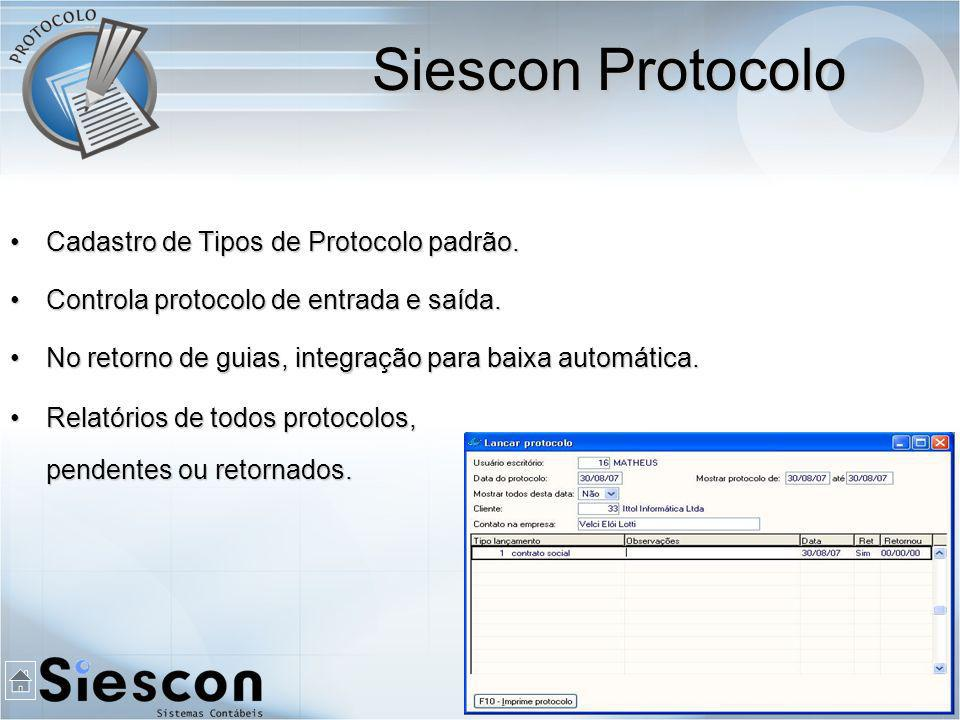 Siescon Protocolo Cadastro de Tipos de Protocolo padrão.