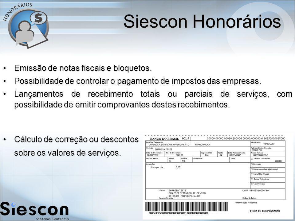 Siescon Honorários Emissão de notas fiscais e bloquetos.