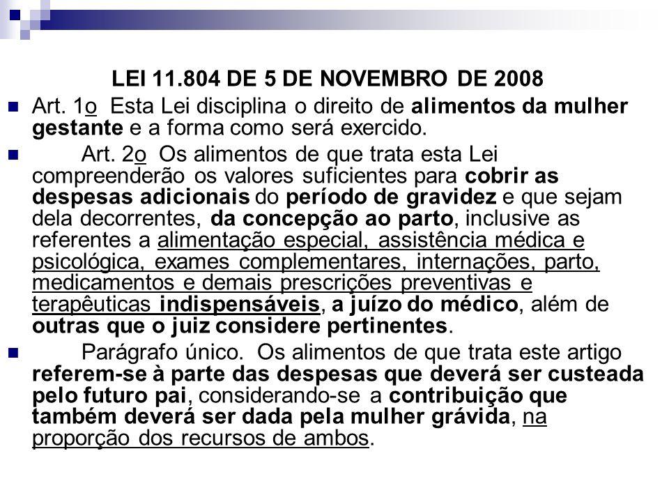 LEI 11.804 DE 5 DE NOVEMBRO DE 2008 Art. 1o Esta Lei disciplina o direito de alimentos da mulher gestante e a forma como será exercido.