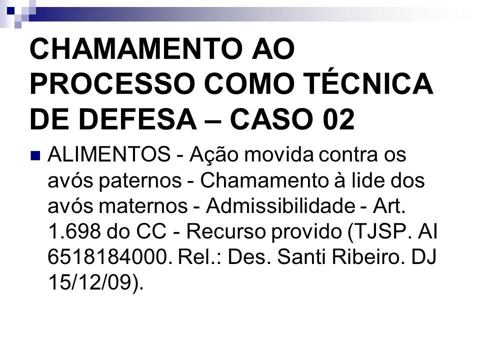 CHAMAMENTO AO PROCESSO COMO TÉCNICA DE DEFESA – CASO 02
