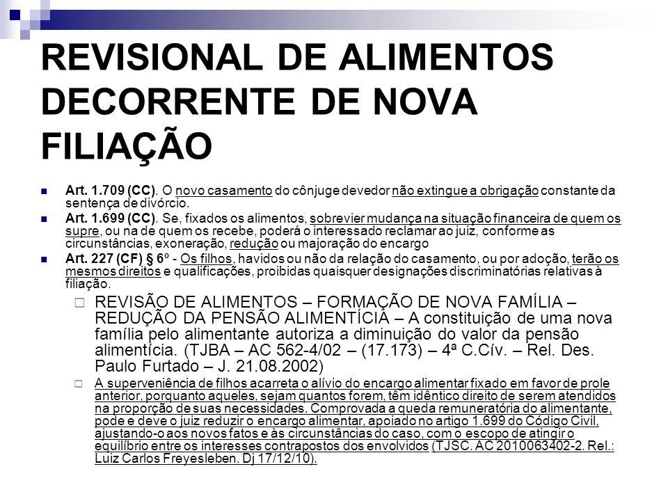 REVISIONAL DE ALIMENTOS DECORRENTE DE NOVA FILIAÇÃO