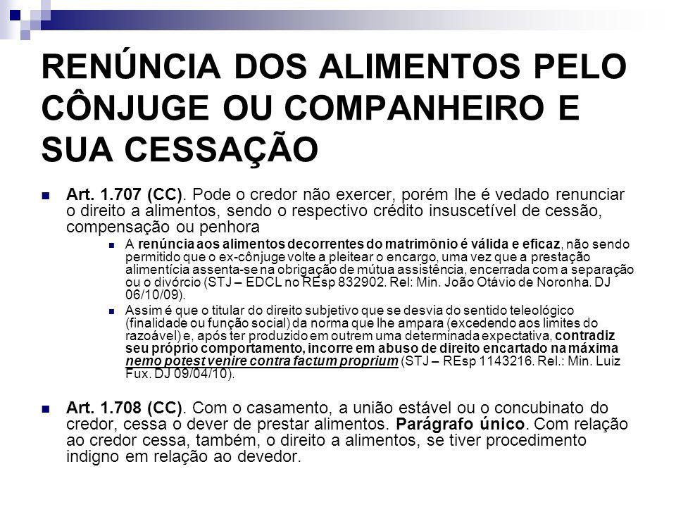 RENÚNCIA DOS ALIMENTOS PELO CÔNJUGE OU COMPANHEIRO E SUA CESSAÇÃO