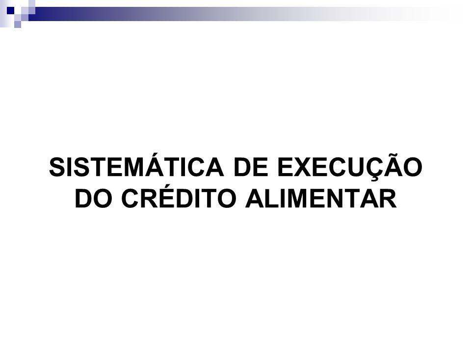 SISTEMÁTICA DE EXECUÇÃO DO CRÉDITO ALIMENTAR