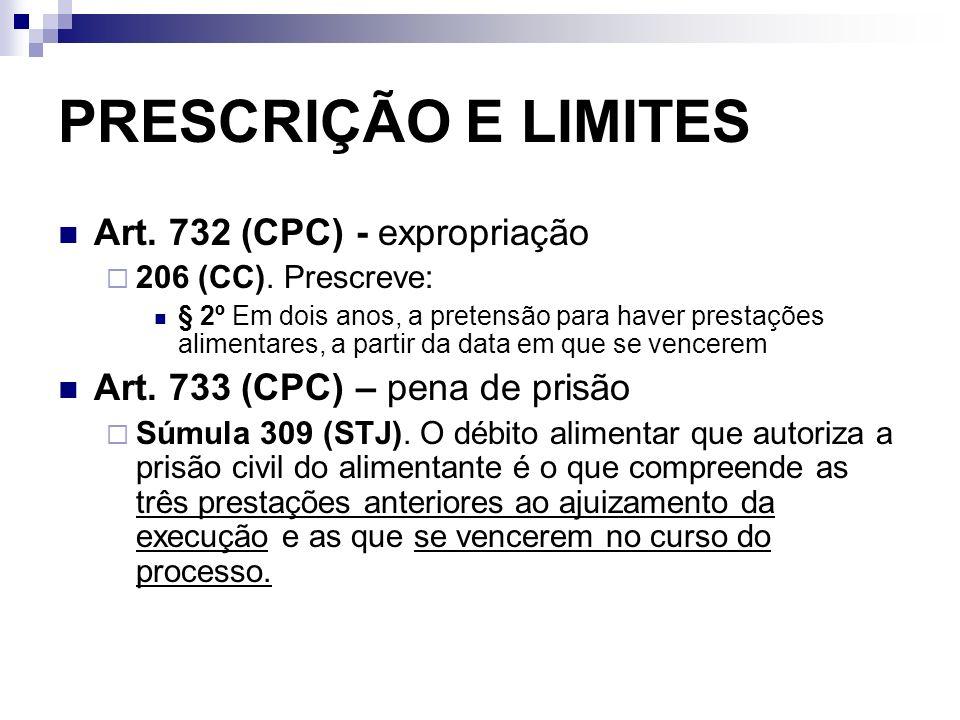 PRESCRIÇÃO E LIMITES Art. 732 (CPC) - expropriação