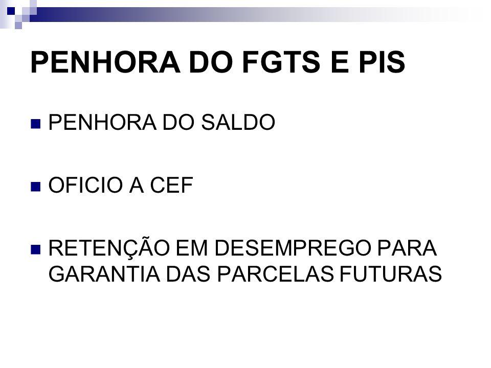 PENHORA DO FGTS E PIS PENHORA DO SALDO OFICIO A CEF