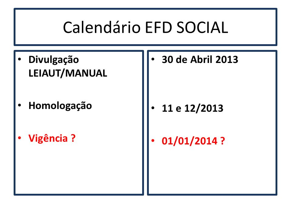 Calendário EFD SOCIAL Divulgação LEIAUT/MANUAL Homologação Vigência