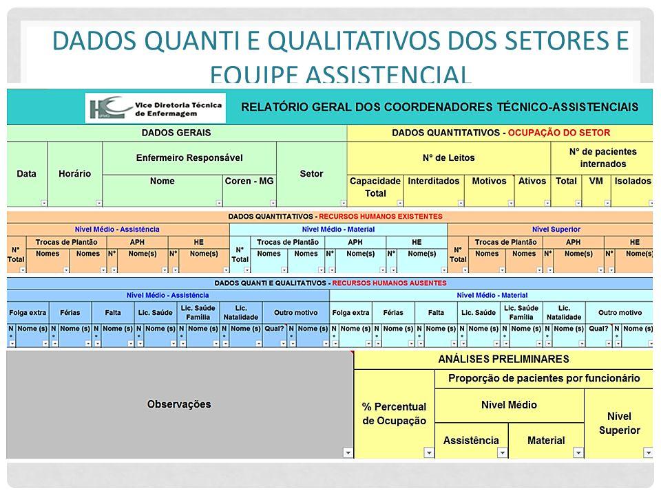 Dados quanti e qualitativos dos setores e equipe assistencial