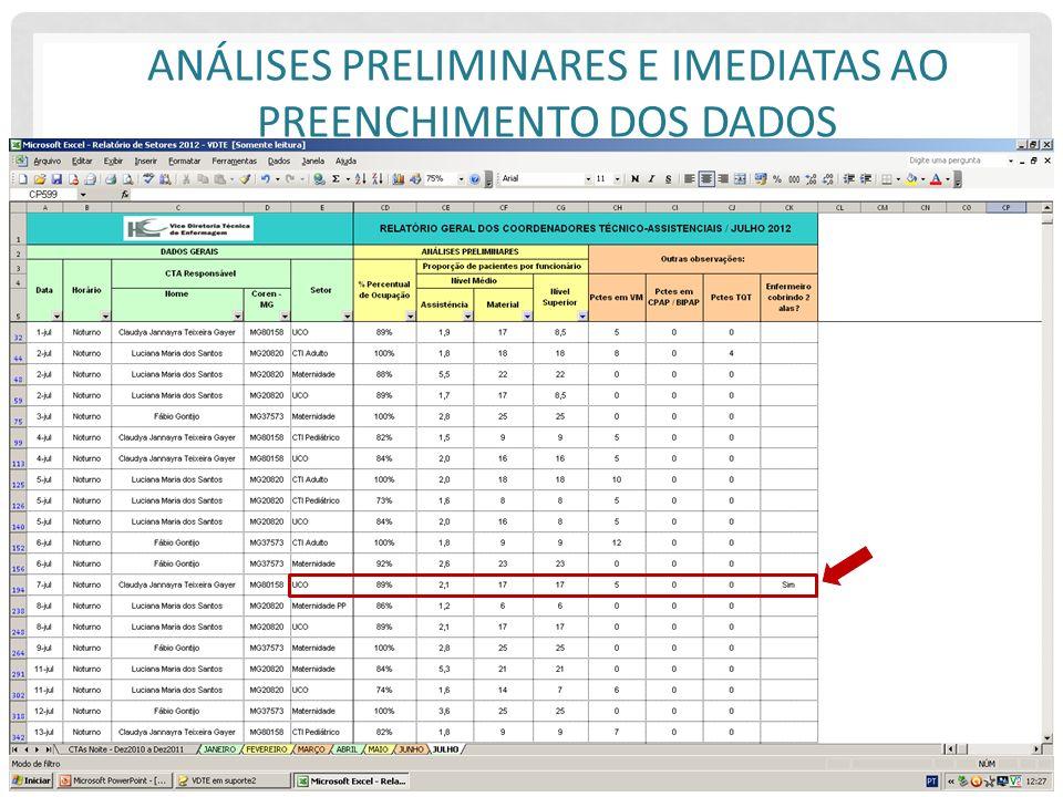 Análises preliminares e imediatas ao preenchimento dos dados