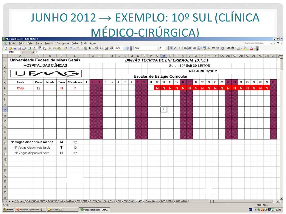 Junho 2012 → Exemplo: 10º Sul (Clínica Médico-Cirúrgica)
