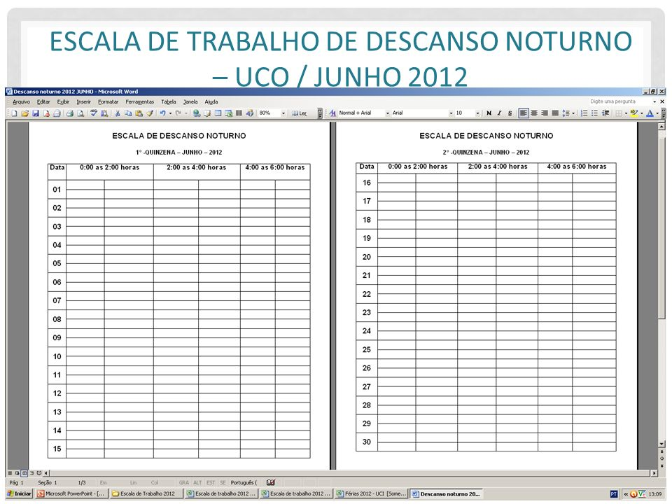 Escala de Trabalho de Descanso Noturno – UCO / Junho 2012