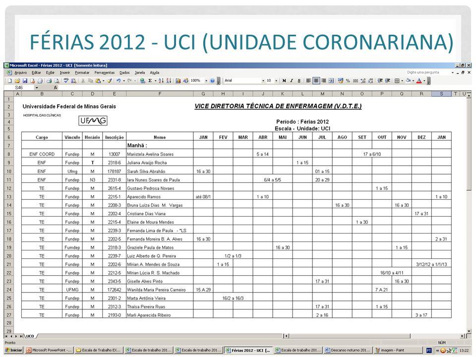 Férias 2012 - UCI (Unidade Coronariana)